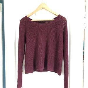 rag & bone Knit Maroon Crewneck Open Knit Sweater